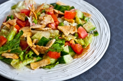 lebanese fattoush salad, fattoush salad, pita bread salad, lebanese bread salad, lemon vinaigrette, vegetarian, salad
