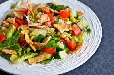 lebanese fattoush salad, fattoush salad, pita bread salad, lebanese bread salad, lemon vinaigrette, vegetarian, salad
