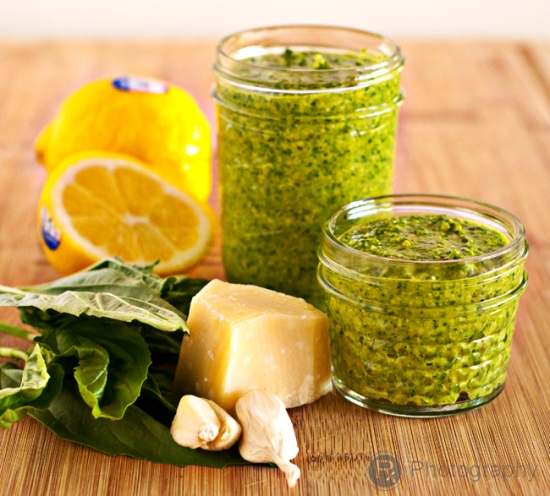 Fresh Basil Pesto… the perfect prescription to doctor up pasta, grilled chicken or salmon, or as a dip!