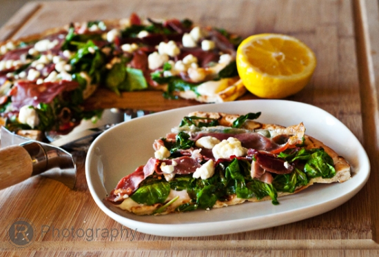 Grilled two cheese pizza with prosciutto, arugula, and lemon ...
